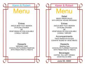 sle menu template printable menu cards for wedding reception wedding