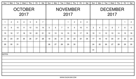 printable calendar 2017 october november december printable calendar 2017 october november december