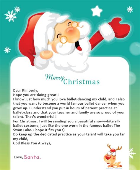 letters from santa a letter from santa letter of recommendation
