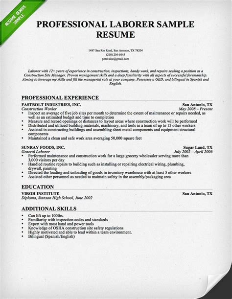 Laborer Resume Exle by Laborer Resume Professional Construction Worker Resume