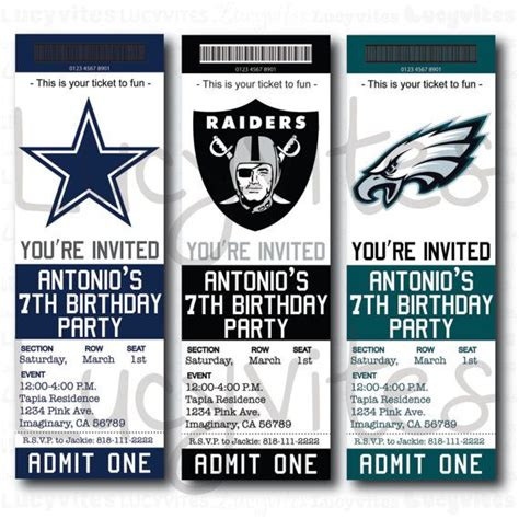 football ticket stub digital invitation any team cute