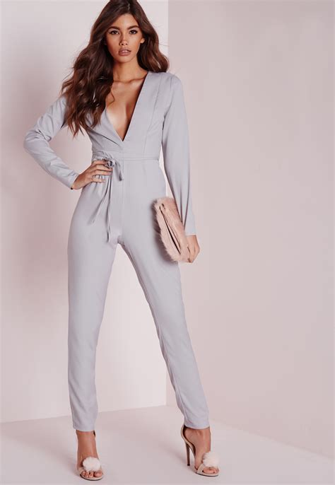 missguided plunge tapered leg belted jumpsuit grey in gray lyst