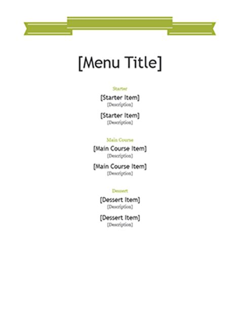 microsoft office menu template menu office templates
