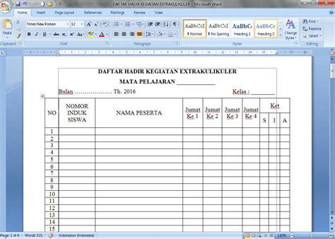 format daftar hadir sekolah dokumen contoh daftar hadir kegiatan ekstrakurikuler