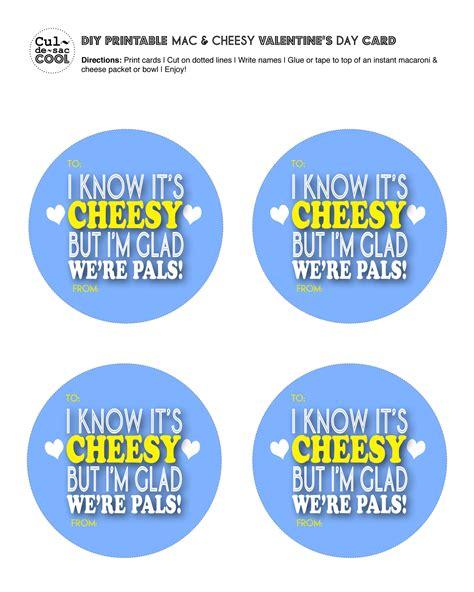 cheesy valentines day diy printable mac cheesy s day card
