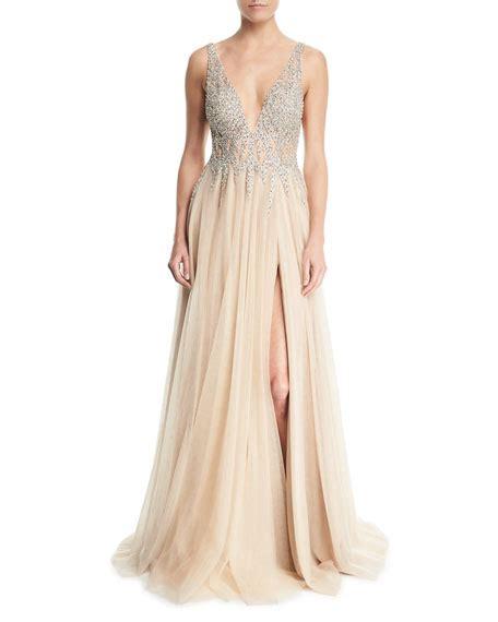 Sleeveless Evening Gown jovani sleeveless high slit embellished bodice evening