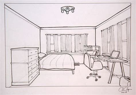 sketch room homework one point perspective room drawing