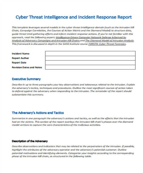 Incident Response After Report Template 53 Incident Report Exles