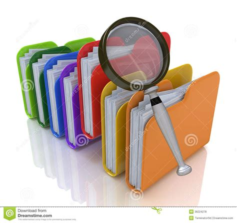 Free Info Search Search For Files In The Folder Stock Illustration Image 36224278