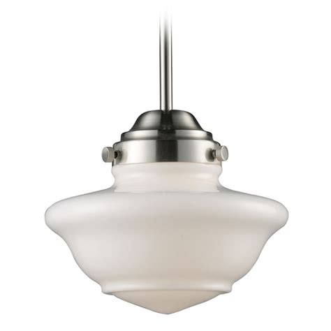 schoolhouse mini pendant light elk lighting schoolhouse pendants satin nickel led mini