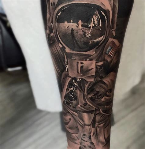 spaceman moon landing sleeve best tattoo design ideas