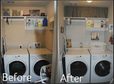 very small laundry room before and after makeover with