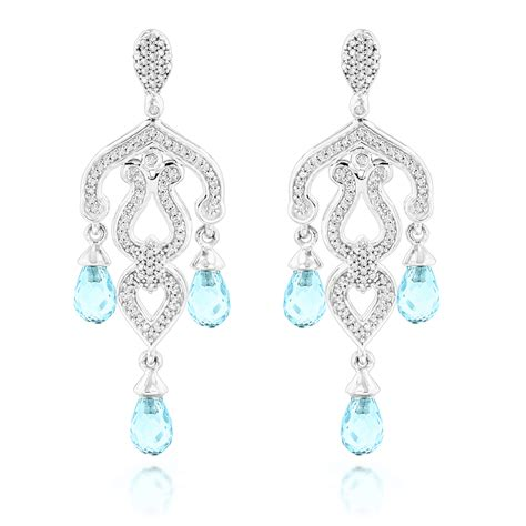 blue chandelier earrings 14k gold chandelier earrings blue topaz 0 37ct