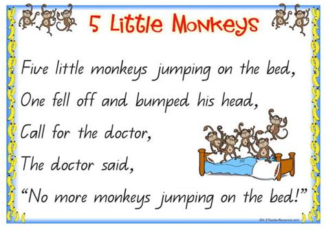 monkeys jumping on the bed lyrics five little monkeys qld page 02 k 3 teacher resources