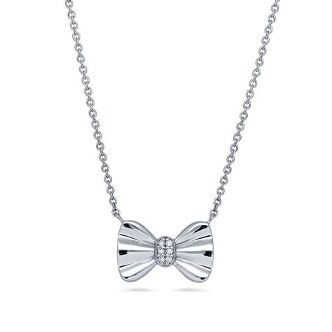 berricle sterling silver cz bow tie fashion pendant necklace