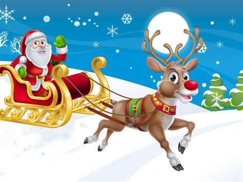 year christmas santa claus sleigh reindeer winter wallpaper hd  wallpaperscom
