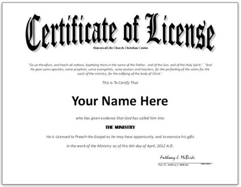 pastor license certificate template google search