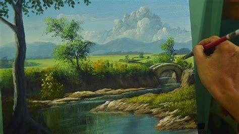 Landscape Pictures To Paint In Acrylic Acrylic Landscape Painting Lesson River To The Bridge In