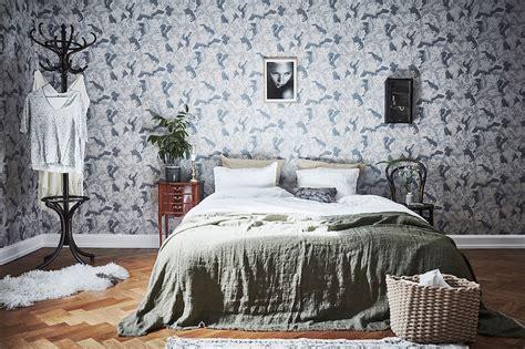 scandinavian style bedroom scandinavian style and bold wallpaper in bedroom
