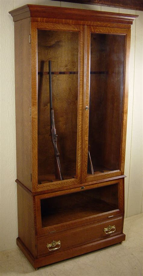 Handmade Gun Cabinets - custom made quartered oak gun cabinet