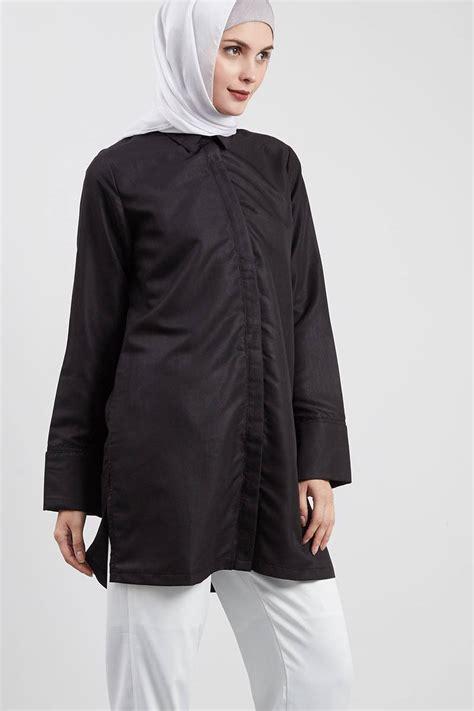 Baju Wanita Atasan Pakaian Moschino Bag Tunik Tunic Blouse Muslim sell slit tunic black tops hijabenka