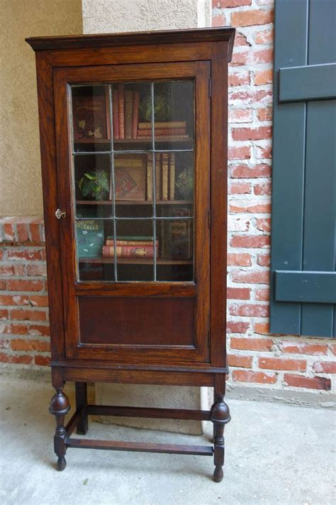 Antique Display Cabinets With Glass Doors Antique Oak Jacobean Leaded Glass Door Bookcase Display Cabinet Glass Door