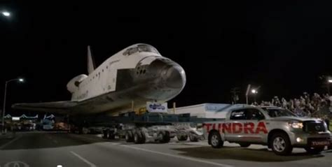 Toyota Shuttle Toyota Tundra Pulls Shuttle Endeavour Through L A
