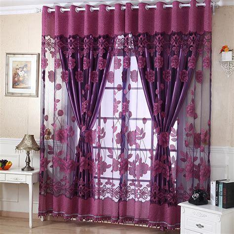 curtains shop online flower tulle door window curtain drape panel sheer scarf