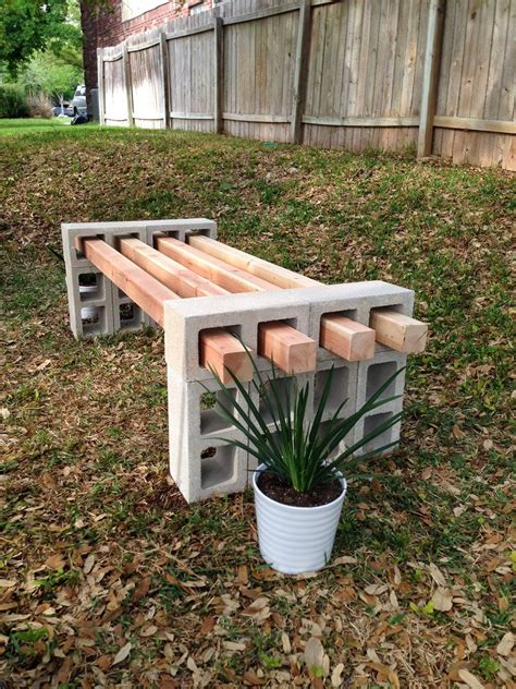 wood bench outdoor cinder block garden bench ideas