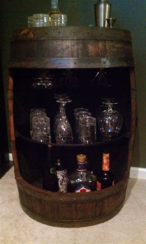 Whiskey Barrel Cabinet by Whiskey Barrel Display Liquor Cabinet With Lazy Susan