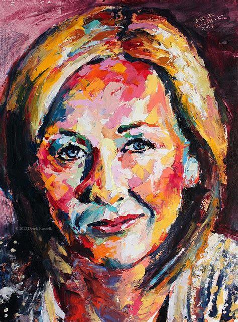 J.K. Rowling - Original Oil Painting   Vibrant art ... Famous Acrylic Painting