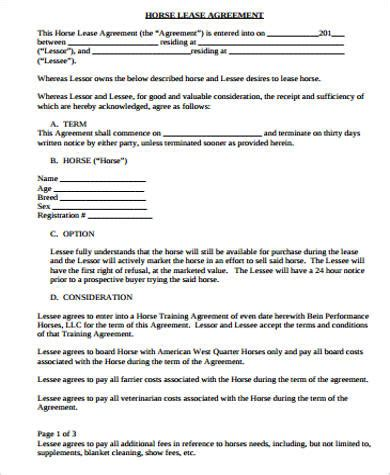 printable horse lease agreement sle horse lease agreement template 9 lease contract