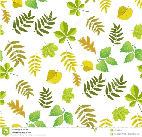 illustrator pattern leaves leaves seamless pattern background stock illustration