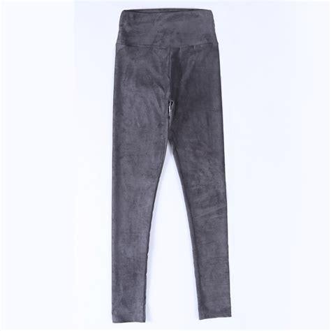 Terlaris Fragnaier Highwaist Slimming Pant 2016 suede leather high waist large elastic slim retro leather suede