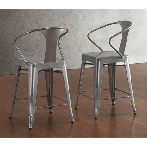 Tabouret Bar Stools by Tabouret Silver With Back 24 Inch Counter Stools Set Of 2