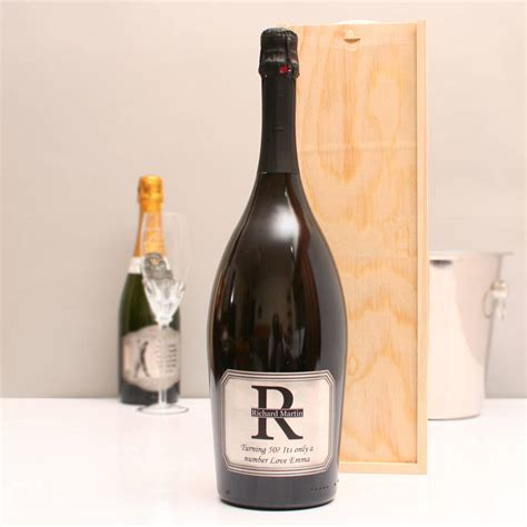 personalised magnum prosecco with pewter monogram label by