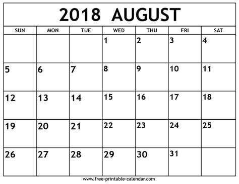 august 2018 calendar free printable calendar