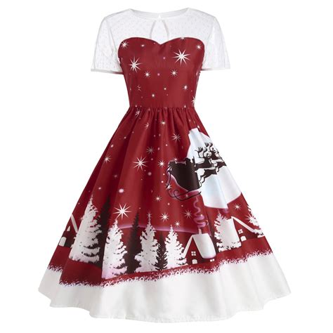 christmas pattern swing dress women vintage christmas santa pattern swing dress 1950 s