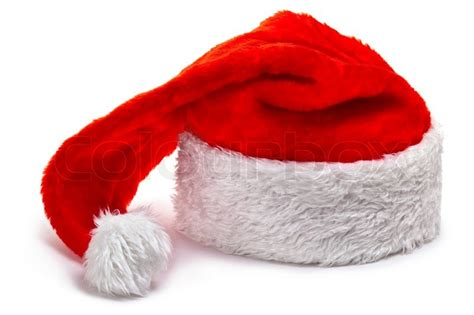 santa claus hat lying on a white stock photo colourbox