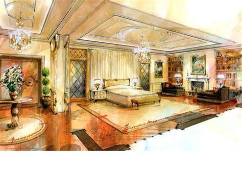 architectural illustration interior watercolour