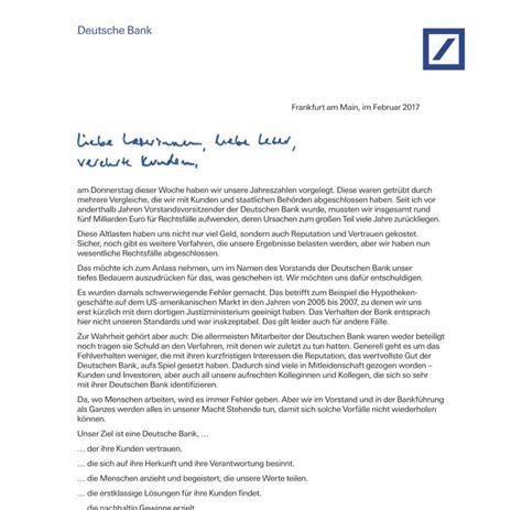 deutsche bank brief deutsche bank chef entschuldigt sich bei kunden welt