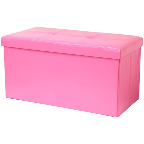 Folding Ottoman Storage Chest Toy Box Foot Stool Black