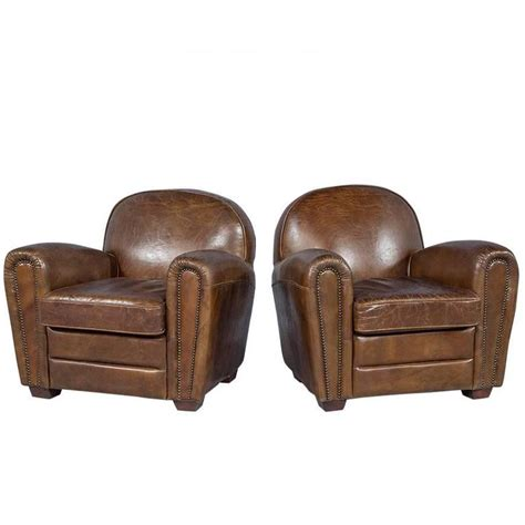 distressed leather recliners pair of distressed brown leather art deco club chairs at