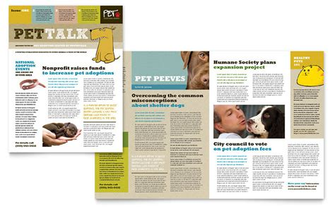 newsletter content layout animal shelter pet adoption newsletter template word