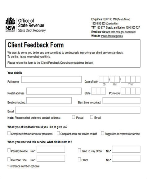 customer feedback forms exles sle client feedback form in word 8 exles in word