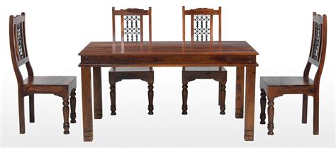Jali Sheesham 160 Cm Chunky Dining Table And 4 Chairs Jali Dining Table And Chairs