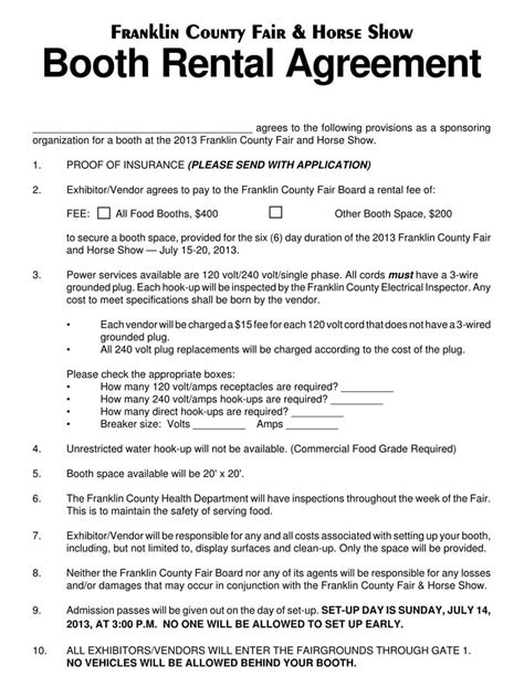 booth salon rental lease agreement templates  state