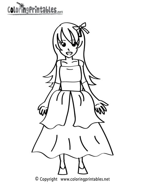 printable coloring pages of a girl girl dress coloring page a free girls coloring printable