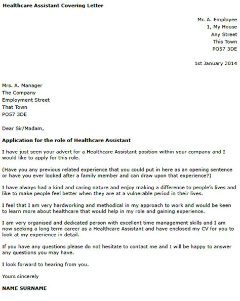 how to write a cover letter for health care assistant