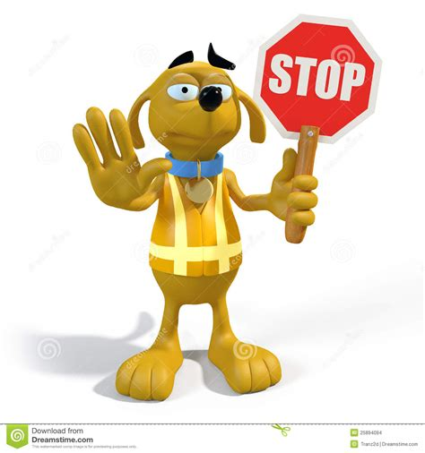 puppy keeps stop sign stock images image 25894094